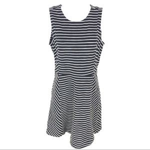 J Crew Navy and White Stripe Dress Fit Flare 6